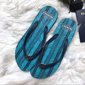COACH Alessa Blue Turquoise Flip Flops
